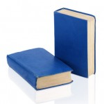 Two closed old blue books isolated on white background